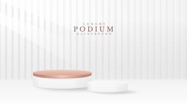 Podium mit weißen produkten. 3d-luxus-hintergrundkonzept. vektorillustration zur förderung von vertrieb und marketing.