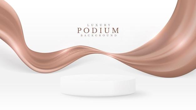 Podium mit weißen produkten mit luxuriöser brauner leinwand. 3d-hintergrundkonzept. vektorillustration zur förderung von vertrieb und marketing.
