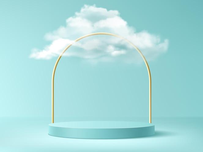 Podium mit wolken und goldbogen, abstrakter hintergrund mit leerer zylindrischer bühne für preisverleihung