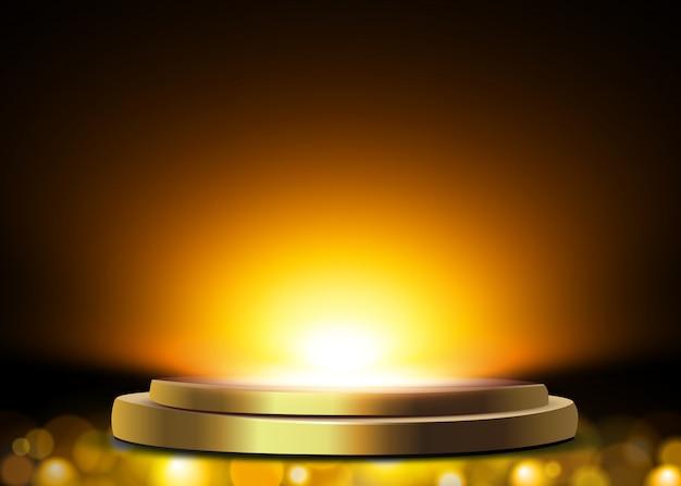 Podium, podest oder plattform von scheinwerfern auf weiß beleuchtet.