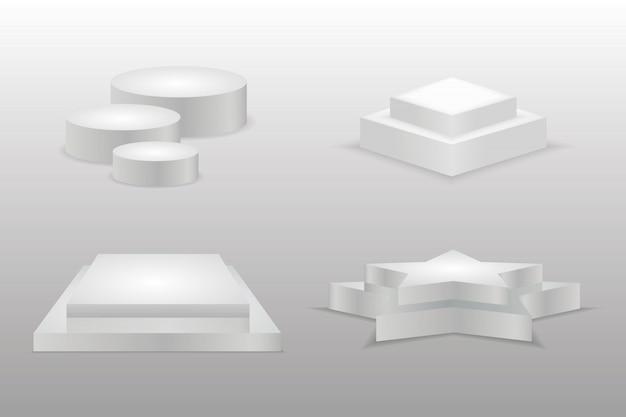 Podium realistisch. runde und quadratische leere bühnen und podesttreppen. leeres 3d-modellstil-design des sockels des minimalistischen wettbewerbsmeisters