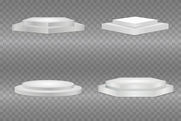 Podium realistisch. runde und quadratische leere stufen. gewinner podest im studio