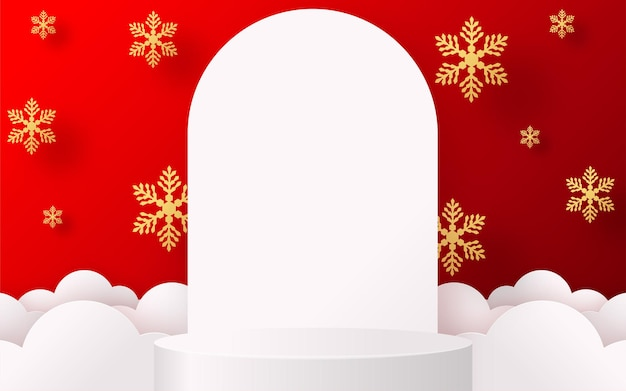 Podium rundes bühnenpodium und papierkunst chinesisches neujahr, chinesische festivals, mid autumn festival, roter papierschnitt, blumen- und asiatische elemente mit handwerksstil im hintergrund.