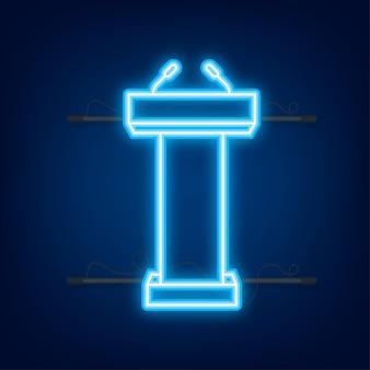 Podium tribune podiumsständer mit mikrofonen. neon-symbol. vektor-illustration.