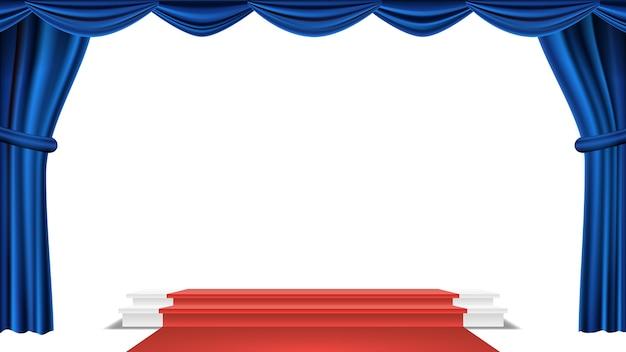 Podium unter blauem theater-vorhang-vektor. preisverleihung. präsentation. podest für sieger. getrennte abbildung