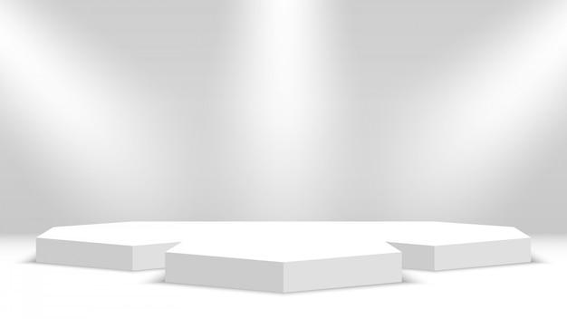 Podium. weißer sockel mit scheinwerfern. illustration.