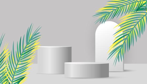 Podiumsbranding und verpackungspräsentation für kosmetikprodukte mit grünen tropischen palmblättern