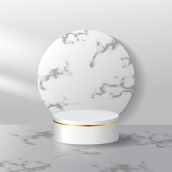 Podiumsdisplay der weißen marmorszene für produktausstellung. realistisches bühnenbild mit licht- und schatteneffekt.