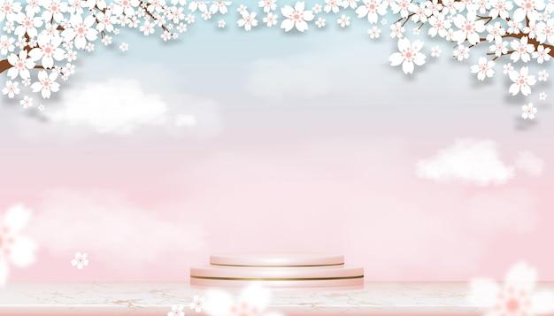 Podiumsdisplay mit frühlingsapfelblüte auf blauem und rosa pastellhimmel. realistische 3d von pink gold cylinder stand plattform auf roségold mit blühenden zweigen rosa sakura