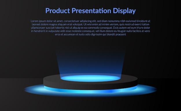 Podiumsockel des modernen minimalismusproduktanzeigebühnens mit neonlampen-scheinwerfer und dunklem hintergrund