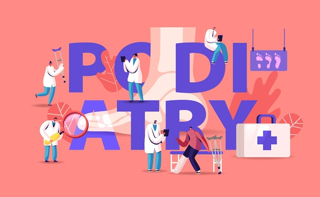 Podologie-konzept. arzt podologe untersuchen fuß, knöchel und erkrankungen der unteren extremitäten. karikatur flache illustration
