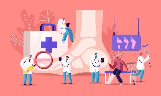 Podologie-konzept. doctor podiatrist character untersuchen sie die krankheit von fuß, knöchel und unteren extremitäten.