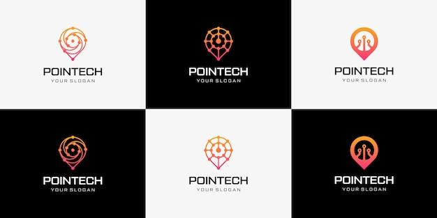 Pointech-logo-designkollektion mit moderner computer-ikone der linienkunstarttechnologie