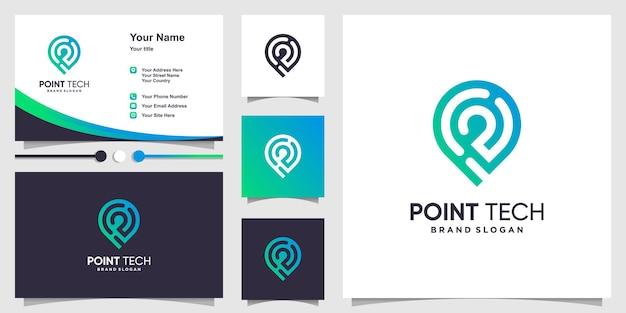 Pointech-logo mit frischem konzept und visitenkarten-design