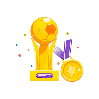 Pokal und medaille für den gewinn des fußballs
