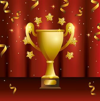 Pokalpreis mit sternen und konfetti-feier