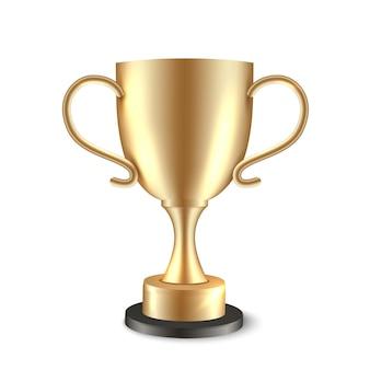 Pokalsieger. auszeichnung des goldenen meisters. goldvektor realistischer glänzender fußballpreis isoliert