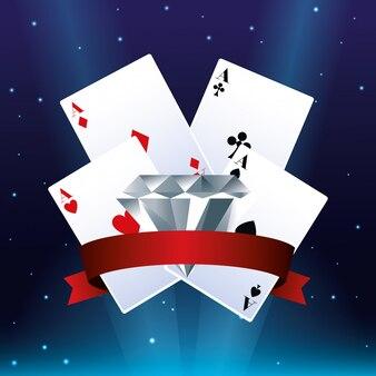 Poker asse karten diamant wettspiel glücksspiel casino banner