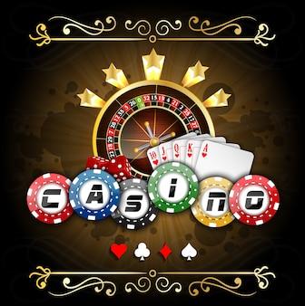 Poker banner mit spielkarten