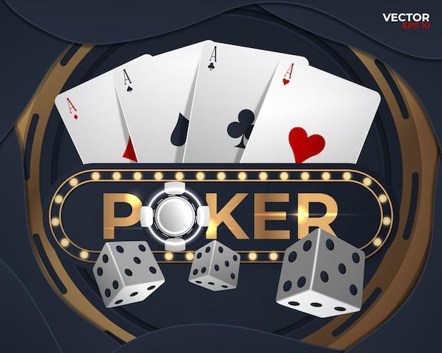Poker banner mit vier assen und mehreren karten auf der rückseite