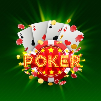 Poker-casino-banner-schild auf grünem hintergrund. vektor-illustration