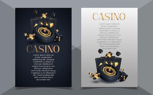 Poker casino banner set mit karten und chips.