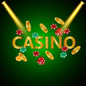 Poker casino mit spielkarten und luxuriösem hintergrund