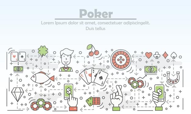 Poker, der flache linie kunstillustration annonciert