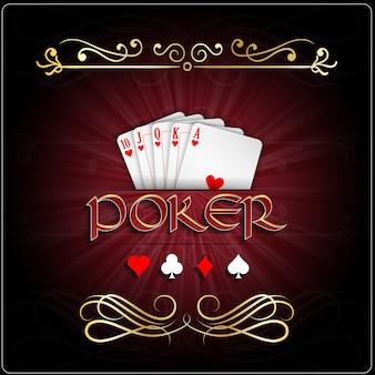 Poker game poster mit royal flush herzen karte