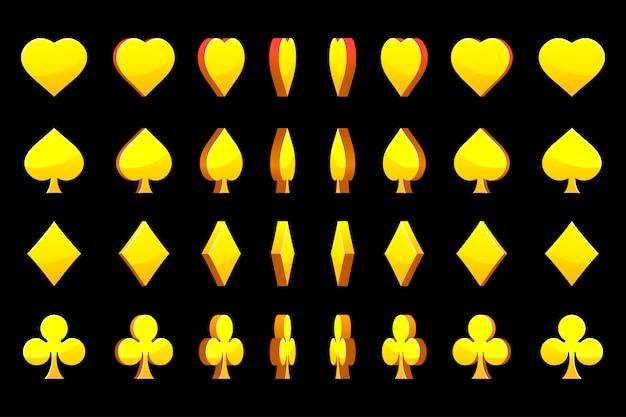 Poker-karten mit goldenen goldenen symbolen, rotation des animationsspiels