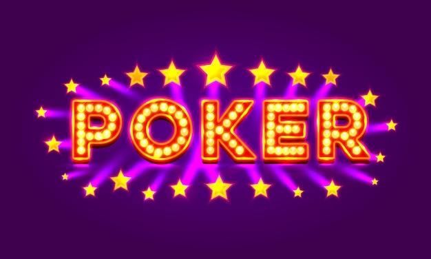 Poker-label, casino-banner-schild auf violettem hintergrund. vektor-illustration
