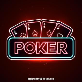 Poker neon lichter hintergrund