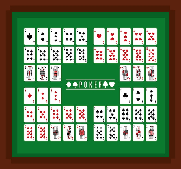 Poker-spielkarten-kasino am tabellensatz
