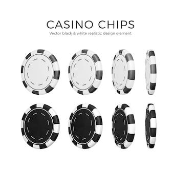 Pokerchips in anderer position. 3d schwarz-weiß-farb-casino-chips auf weißem hintergrund. vektor-illustration