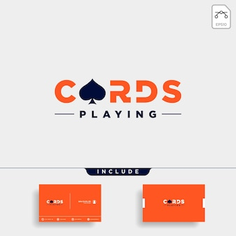 Pokerkarte logo design vorlage typografie vektor illustration symbol element - vektor