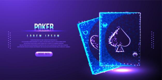 Pokerkarte low poly wireframe mesh