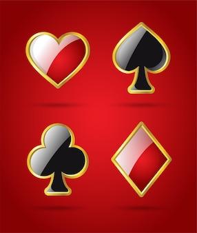 Pokerkartenanzüge - moderne vektor-isolierte clip-art-illustration auf glänzendem rotem hintergrund. herzen, pik, karo, kreuz mit glanzeffekt. casino, glücksspiel, glück, glückskonzept