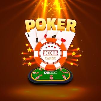 Pokertisch mit den karten und chips auf goldgrund. vektor-illustration