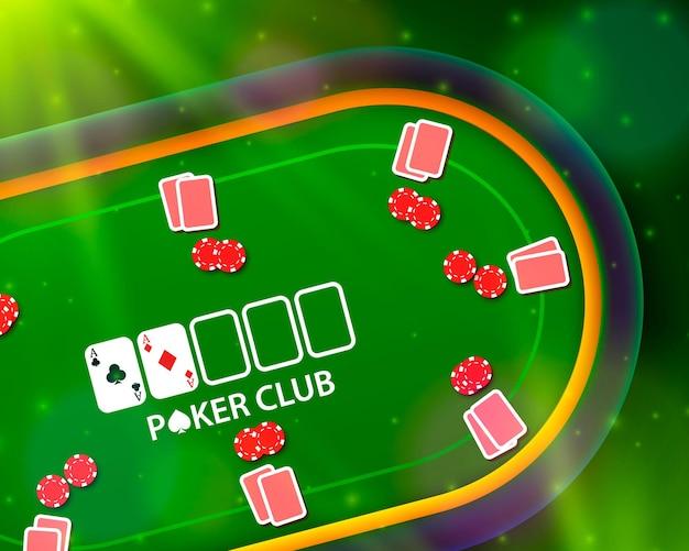 Pokertisch mit den karten und chips auf grünem hintergrund. vektor-illustration