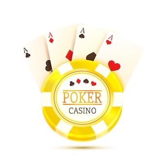 Pokertisch mit den karten und chips auf weißem hintergrund. vektor-illustration