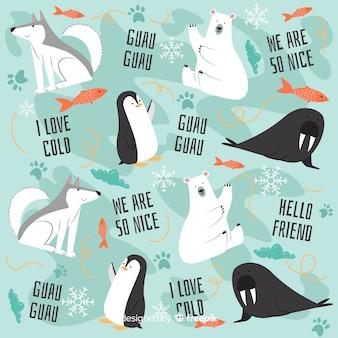 Polare tiere des bunten gekritzels und wortmuster