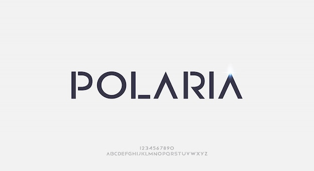 Polaria, eine abstrakte futuristische alphabetschrift mit technologiethema. modernes minimalistisches typografie-design premium