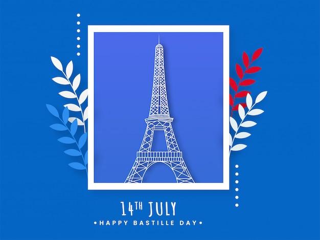 Polaroid eiffelturm bild mit blättern auf blauem hintergrund für 14. juli, happy bastille day.