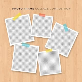 Polaroidkonzept der fotorahmencollage auf hölzernem hintergrund