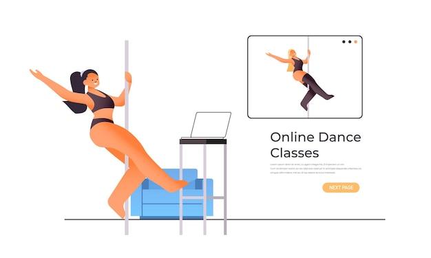 Pole dance frau macht tanzübungen auf pilon
