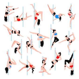 Pole dance isometric icons set