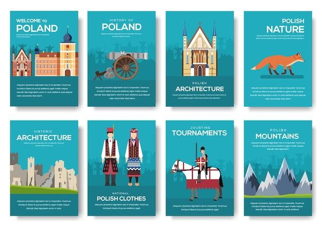 Polen broschüre karten dünne linie gesetzt