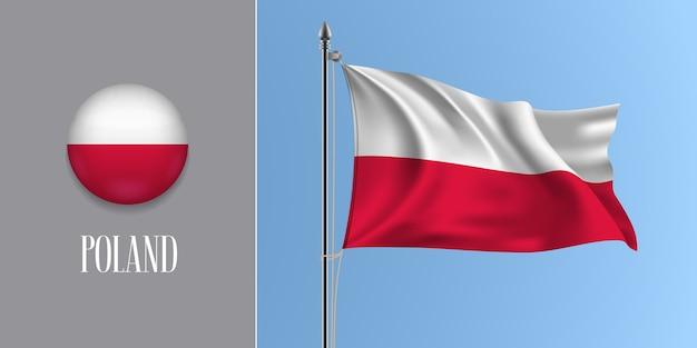 Polen, das flagge auf fahnenmast und runder symbolillustration schwenkt