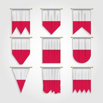 Polen flagge in verschiedenen formen