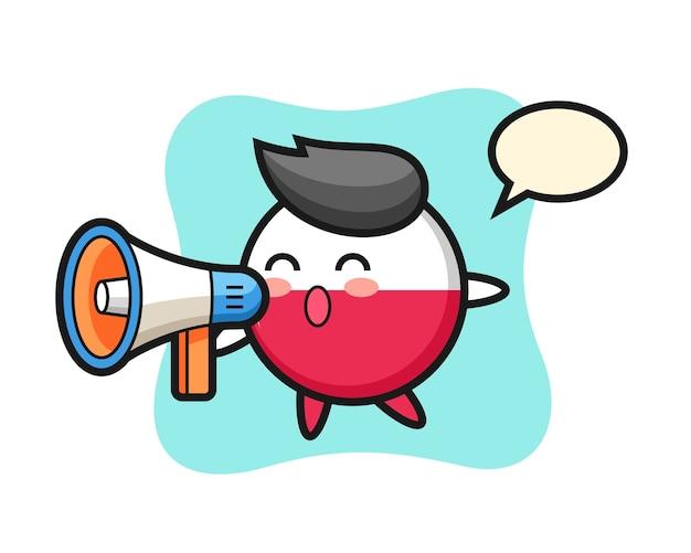 Polen flaggenabzeichen charakter, der ein megaphon hält
